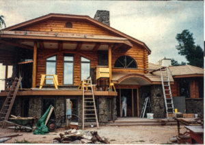 Log siding project under construction