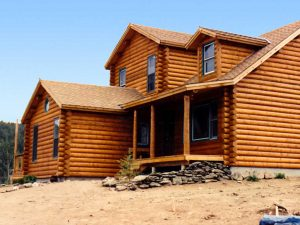 Timberline log siding and log corners on home in the Colorado mountains.