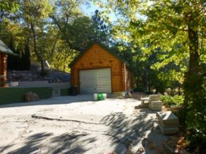 Log sided garage