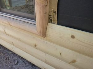Log siding window detail.