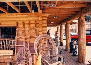 Log porch on commercial building