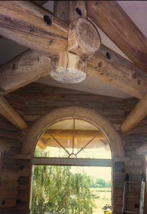 Interior blue stained log truss