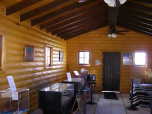Interior log siding in museum