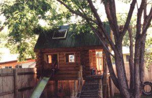 Log sided play house.