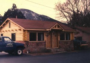 Remodel with log siding and Timberline log corners at the Thompson Lodge in Estes Park CO.
