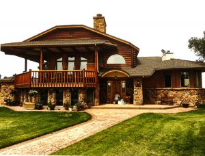 Timberline Log Exteriors on home in mountains.