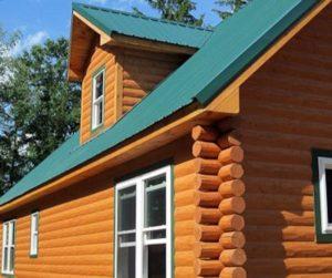 Log siding and metal roof