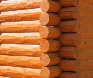 Hand hewn log siding with corners
