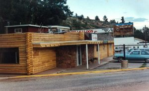 Remodel with log siding and Timberline log corners at a restaurant-bar in Lyons CO